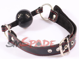 Wholesale Smspade New Genuine Leather Ball Gag mm Solid Rubber Ball Gag Mouth Harness Plug For Couples Have Sex Mouth Gagged Toy