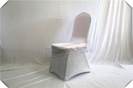 White Spandex For Chairs Australia - Colorful New desion white Banquet spandex chair covers with Silver Sequin fabric chair cover for wedding and party decorations