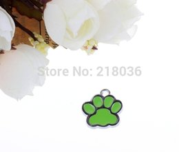 $enCountryForm.capitalKeyWord Canada - 100pcs Enamel Green Cat Dog Paw Prints Pendants Fashion Vintage Charms Fit Bracelet Jewelry Making Findings Findings &Components 17*16mm