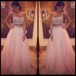 $enCountryForm.capitalKeyWord Canada - Fashion 2016 Pink Prom Dresses Beaded Shiny Evening Dress Crystal Two Pieces Party Dress Tulle Sweet 16 Dress vestidos de festa