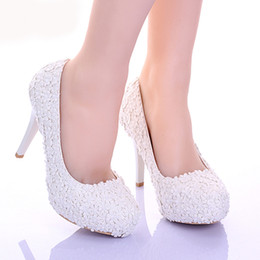 Bridesmaids slip dresses online shopping - White Lace Flower Formal Dress Shoes Comfortable Bridesmaid Shoes Women Spring Bridal Wedding Shoes Girl Birthday Prom Shoes