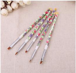 $enCountryForm.capitalKeyWord NZ - Wholesale-Hot sale Nail brushes Fashion New 5PCS set Nail Art Wood UV Gel Salon Pen Flat Brush Kit Dotting Nail styling Tools