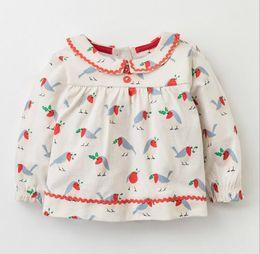 Bird collar shirt online shopping - BST30 NEW ARRIVAL Little Maven girl Kids Cotton Long Sleeve pet pan collar little bird print T shirt kids causal spring autumn t shirt