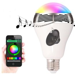 $enCountryForm.capitalKeyWord NZ - Smart Lamp Speaker Bluetooth 4.0 Music PlayBack App Remote Control LED Bulb Lamp For IOS Android iPhone 7 Colors Change Led Bulbs Light
