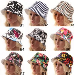 Stingy Brim Trilby Canada - 9 Styles Women Bohemia Striped Plaid Floral Printed fitted Caps Ladies Headwear Bucket Hat Girls Stingy Brim Hats trilby hat Sun Cap