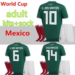 55122c2812e Mexico national team adult Mexico Kits+socks Soccer Jerseys Home Green Men  Set 2018 World Cup G.Dos Santos CHICHARITO football shirts