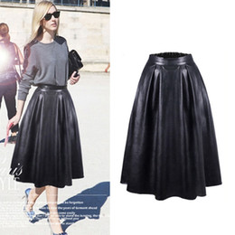 818500463 Long Pleated Leather Skirt Online | Long Faux Leather Pleated .