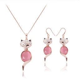 $enCountryForm.capitalKeyWord NZ - Newest Fox Necklace Earrings Jewelry Sets For Women Fashion Party Jewelry Sets High Quality Alloy Opal Jewelry CAL11041I