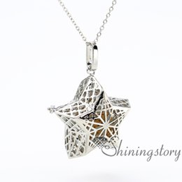 star locket NZ - star openwork essential oil necklace diffuser pendant wholesale diffuser necklaces scent locket lava volcanic stone metal