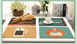 Discount simple mat - Simple cartoon style placemat Cotton and linen coffee pattern art eat mat Household coffee table decorations