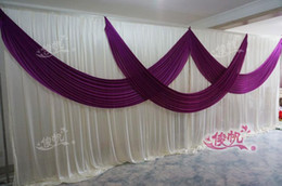 White Wedding Table Settings Canada - 3m*6m wedding stage curtain Luxury White Wedding Backdrop with Beatiful Purple Swag Wedding drape and curtain