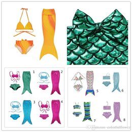 Mermaid Costume Set NZ - 19 Styles Girls Kids Mermaid Tail Swimmable Bikini Set Swimwear Swimsuit Swim Costume Children Set 009#