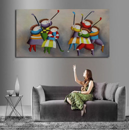 Free Shipping And 100 Hand Painted The Hockey Game Between Boys Girs Oil Painting On Canvas For Living Room Decoration