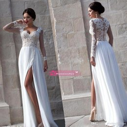 Longue Robe Été Pas Cher-2015 Sexy Sheer Long Sleeves Lace Prom Robes Sweetheart High Split Side Chiffon Robes de soirée formelle Summer Beach Wedding Gown BO7594