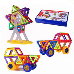 kids blocks wholesale Australia - 74pcs Set Ferris Wheel And Car Set Similar Strong Magnetic Building Toys More Blocks ABS Plastic Eductional Kids Toy