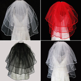 Three layer veils online shopping - Stunning Color Short Wedding Bridal Veils With Comb Three layer Veil Wedding Accessory Spring Cheap In Stock White