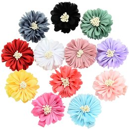 Kids Hair Clips Wholesale Handmade UK - Infants Peony Hairpins Accessories Pretty Baby Barrettes Children Satin Flowers With Clip Kids Handmade Boutique Hair Clips