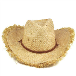 ¡VENTA CALIENTE! Moda para mujer de hombre Unisex Feathered Edge Natural Straw Cowboy Sun Hat Cap en venta