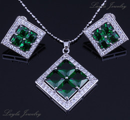 Gold Emerald Pendant Canada - 18K Gold Plated Stylish Square Personality Green Emerald Cubic Zirconia Earrings and Pendant Necklace Party Jewelry Sets Free Gift Bag H0078