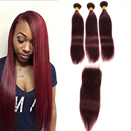 $enCountryForm.capitalKeyWord NZ - Hot Sale 100% Unprocessed 99j Straight Virgin Hair With Closure #99J Malaysian Human Hair 3 Bundles With Lace Closure 4Pcs Lot Red Hair