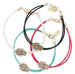 $enCountryForm.capitalKeyWord Canada - Christmas gift Bracelet the hand of Fatima National wind red rope bracelet mixed 4 color Lobster clasp hamsa evil eye bracelet
