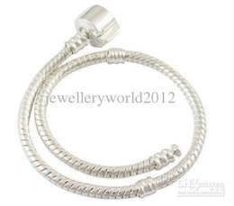 23cm Silver Bracelets Australia - 100pcs 16cm-23cm silver bracelet with smooth clasp fit European bead free shipping