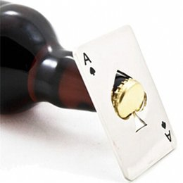beer soda 2019 - Stylish Poker Playing Card Ace of Spades Bar Tool Soda Beer Bottle Cap Opener Gift cheap beer soda