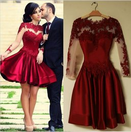 $enCountryForm.capitalKeyWord Canada - Burgundy Long Sleeve Prom Dresses 2016 Scoop Neckline A Line Sexy See Through Back Short Puffy Lace Prom Dress Evening Gown In Stock