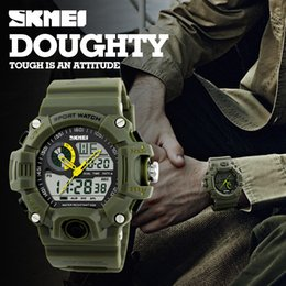 Green Plastic Army Men Canada - SKMEI Brand Reloje Hombre Style Digital Dual s shock Time Watches Men Fashion Man Sports Watches Luxury Brand Military Army