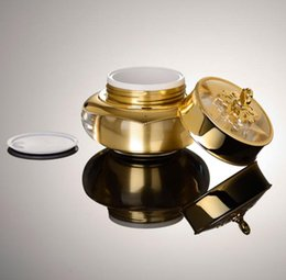 Mini Cream Lotion Wholesale UK - 2017 Portable MINI Acrylic Face Cream Jars 15g Imperial Crown Gold Empty Lotion Makeup Bottle Jars for Women
