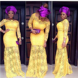 Barato Saia Longa De Estilo Sexy-Aso Ebi Style Evening Dresses 2016 Cheap Mermaid Sexy Off Shoulder Long Sleeve Comprimento do assoalho Sheer Skirt Amarelo Lace Formal Prom Gowns