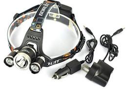 Vente en gros 5000 Lumen 3XCREE XM-L T6 LED Phare Phare 18650 Lampe De Phare + 2XCharger