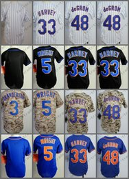 David S Pas Cher-Maillot New York pour la jeunesse David Wright Matt Harvey Jacob DeGrom Camo Bleu Blanc Pinstripe Kid