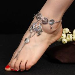 Anklet Toe Chain Australia - Bohemian Style Flower Joint Tassel Toe Chain Link Anklets Bracelet Foot Jewelry Body Jewelry For Women