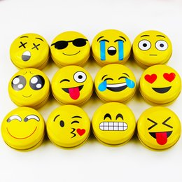 Barato Reboques Grossistas Para Maquiagem-36pcs / box Atacado Emoji Tin Box Round Make Up Organizer 36Piece / Lot Gift Box Pequeno Metal Tin Case Tea Candy Container Lipstick Organizer