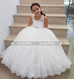 cheap gold tutu skirt NZ - 2019 New Arrival Vintage White Cheap A Line Flower Girls Dresses Beaded Sash Princess Lace Girls Pageant Gowns Tutu Skirt