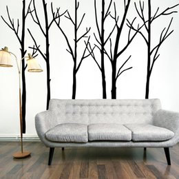Life Tree Art Canada - Extra Large Black Tree Branches Wall Art Mural Decor Sticker Transfer Living Room Bedroom Background Wall Decal Poster Graphic 288 x 200CM