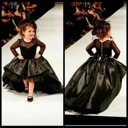 $enCountryForm.capitalKeyWord Canada - 2016 Ball Gown Flower Girl Dresses With Long Sleeves Pearls Jewel Little Girls Party Dress Pageant Gowns Black Satin High Low