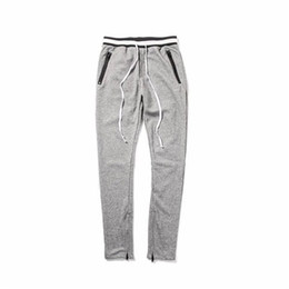 Chinese  Black and White Waist Banding Panelled Ankle Zipper Sweatpants Black and Gray Side Zip Pockets Drawstring Terry Tapered Pants manufacturers