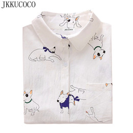 Modelos De Blusa Baratos-JKKUCOCO Cactus / little bee / little dog print Camisas Camisas para mujeres Good Quality Long Sleeve Casual Blouse Shirt 3 Modelos S-XXL