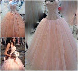 Shine Pink Canada - Shining Sequins Bead Bodice Ball Gown Quineanera Dresses Blush Pink Tulle Elegant Prom Ball Gown With Bow Sash Sexy Sweet 16 Pageant Dress