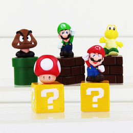 pvc blocks NZ - Free shipping Super Mario Bros Action Figures Block Blocks High Quality PVC 5pcs set New