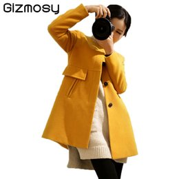 Barato Revestido De Lã Casacos Mulheres-2017 New Winter Wool Coat Mulheres O Neck manga comprida Casaco sólido A-Line Single Breasted Mulher Casual Outwear 4 cores BN1239