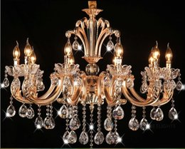 $enCountryForm.capitalKeyWord Canada - Free Shipping Classic 10 Arms Gold Crystal Chandelier Lighting Fixture Lustre Crystal Hanging Lamp Pendant