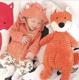 $enCountryForm.capitalKeyWord NZ - Baby Boy Girl Sweatshirts Cute Little Fox Animal Hoodies Autumn Warm Golden Zipper Jackets Infant Clothes fit 2-7years wholesale 5pcs YZ