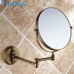 Antique 8 Double Side Bathroom Folding Brass Shave Makeup Mirror Wall Mounted Extend With Arm Round 1x3x Magnifying YT 9102