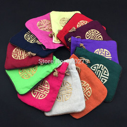 $enCountryForm.capitalKeyWord Canada - Large Chinese style Cotton Linen Christmas Gift Bags Drawstring Embroidered Lucky Storage Pouches 15x18 cm 50pcs lot mix color
