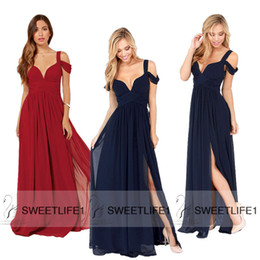 T Shirt Dress Split Up Sides Canada - 2015 Navy Blue Long Bridesmaid Dresses IN STOCK Cheap Under 100 Chiffon Maid of Honor V Neck Split Floor Length Burgundy Wedding Party Gown