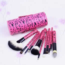 Goat Hair Dhl Australia - FREE SHIPPING DHL! HOT NEW Makeup Brushes Professional Brush 11 Pieces + Leather Peel bucket
