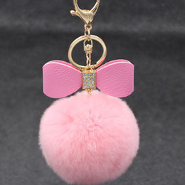 $enCountryForm.capitalKeyWord NZ - Fashion 8cm Rabbit Fur Ball Keychain Crystal Genuine Leather Bowknot Plush Ball Keyring High Quality Car key Rings Bags Pendant 18 colors
